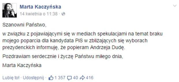 Marta Kaczyńska zapewnia o swoim poparciu dla Andrzeja Dudy